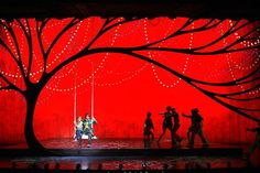 """Banana Shpeel"" grew out of a desire of Cirque founder Guy Laliberte's to create a vaudeville show. Stage Lighting Design, Stage Set Design, Set Design Theatre, Bühnen Design, Stage Beauty, Tableaux Vivants, Tree Silhouette, Black Silhouette, Church Stage"