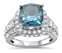 4.65ct Blue Cushion Cut Diamond Engagement Ring 18k White Gold / Front Jewelers