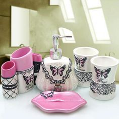 5 pieces resin butterfly design bathroom set with toothbrush holder+lotion dispenser+wash cup girl's gif