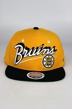 0507aa43f0f Zephyr Shadow Script Boston Bruins Snapback Hat Yellow - Black - White