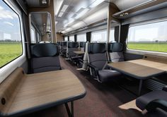 The new-look First Class carriage for Abellio Greater Anglia. Airplane Interior, Bus Interior, Interior And Exterior, Interior Design, Futuristic Architecture, Architecture Design, Aircraft Interiors, Restaurant Design, Bus Restaurant