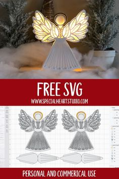 Learn how to make this beautiful 3D Layered Christmas Angel from cardstock with step-by-step directions and a free SVG Cut File.  The Angel is perfect for your holiday decorations or as a Christmas tree topper. #freecutfile #christmascrafts #cricutcraft #svg #christmasangel #handmadegift 3d Christmas, Christmas Tree Toppers, Christmas Angels, Christmas Projects, Christmas Tree Decorations, Xmas, Christmas Ideas, 3d Cuts, Paper Angel