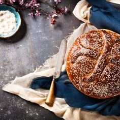 The famous Greek sweet Easter bread in a really easy recipe! Easter Recipes, Camembert Cheese, Ethnic Recipes, Greek, Food, Easy, Greek Language, Meals, Yemek