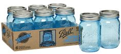 Ball Mason jars in blue - via House of Smith blog!! Normally rare to find but Ball is selling them for a limited time to celebrate their 100 year anniversary :-)