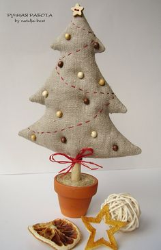 Tree with beads and stitched garland. TW