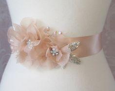Peach Sash Peach Blush Bridal Sash Wedding Belt by TheRedMagnolia, $104.00