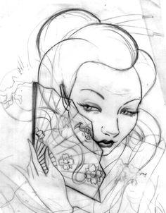 Geisha sketch by fafinhotattoo.deviantart.com