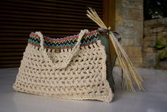 Cocktail crochet purse with boho braid and gold coin. by Hishuk