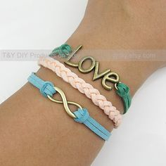 Love Bracelet Infinity Bracelet Charm Bracelet Leather by TYdiy, $5.99