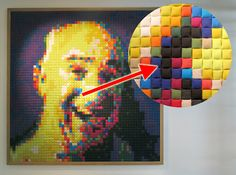 Fabric Covered Padded Pixel Portraits