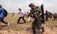 Japanese Defense Force soldiers participate in civilian evacuation drill during exercise Cobra Gold, Rayong, Thailand U.S. Marine Corps (Carl Payne)