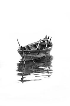 A Lonely Boat by Muhammad Yani Sidi - Photo 77748571 / Art Sketches, Art Drawings, Pencil Drawings, Cool Pictures, Cool Photos, Boat Drawing, Boat Art, Old Boats, Boat Painting
