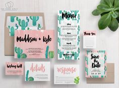 Printable Wedding Invitation Suite Cactus / by TheHomeGirlsEtsy
