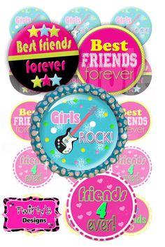 "Girls Rock Bestfriends Forever BFF 1"" circles bottle cap images - 4 X 6 Digital Collage Sheet for making necklace, bracelet, hair bow center on Etsy, $1.50"