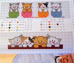 20 σχέδια με γάτες για κέντημα σταυροβελονιά  20 cat cross stitch patterns  Για να δείτε περισσότερα σχέδια για παιδικά κεντήματα  κάν...