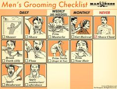And never forget your weekly grooming checklist. | 21 Charts That Will Solve Every Guy's Grooming Problems