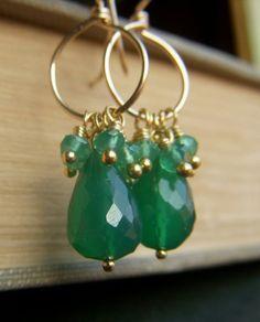 Green Onyx Earrings on Goldfill  Briolette Gemstone by beadstylin