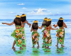 images of hula dancing | Hula Dancers Hawaii Painting by John Yato - Hula Dancers Hawaii Fine ...