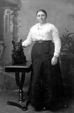 Old photograph of a woman and her dog from Crail, East Neuk of Fifem, Scotland