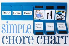 "Simple Chore Chart Tutorial: Create helpful little hands with this easy to create chore chart that kids will enjoy having on display. ""Look what I can to help! All done!"""