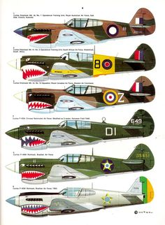 "P-40 WW2 different air forces. The two last ones were used by FAB, Força Aérea Brasileira, by the 1st GAC Fighters Group, aka ""Semta a Púa"", aviator's slang for something like ""give'em Hell!"""