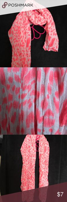 Pink leopard print scarf Long bright pink and white leopard print scarf. Thin material Accessories Scarves & Wraps