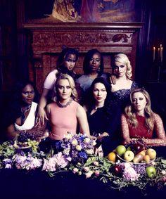 The cast of Orange Is The New Black: Danielle Brooks, Dascha Polanco, Taylor Schilling, Uzo Aduba, Laura Prepon, Taryn Manning, and Natasha Lyonne.