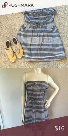 """NWOT Mustard Seed chambray stripe dress/ tunic NWOT Mustard Seed chambray stripe strapless dress/ tunic with side pockets  Size Medium,   MEASUREMENTS: Bust: 16"""" with room to stretch Length: 24 1/2"""" Mustard Seed Dresses Mini"""