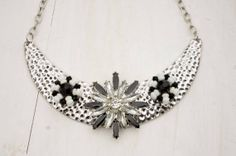 Repurposed Vintage Silver Plated Metal Bib with Black and White; Silver and Black Bib Necklace; Silver and Black Flower Bib Necklace on Etsy, $25.00