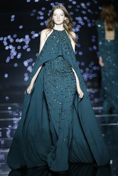 Halter Neck with Spaghetti Straps in Jersey Evening Caped Gown with Patterned Radial Sequence Effect | http://brideandbreakfast.ph/2015/09/11/zuhair-murad-fw-2015/ | Designer: Zuhair Murad