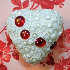 White Lace Beaded Valentine Heart Token by brendapokorny on Etsy, $50.00
