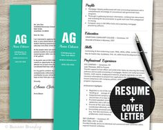 Resume Template  Resume Cover Letter Template  by BusinessBranding