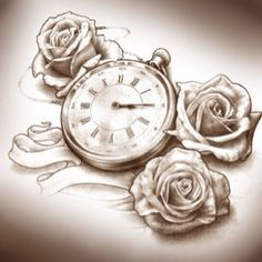 Rose & Pocket Watch Tattoo