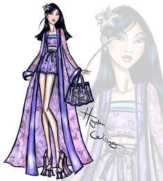 Hayden Williams Fashion Illustrations: Disney Divas 'Beach Beauties' by Hayden Williams: Mulan Disney Princess Fashion, Disney Princess Art, Princess Style, Disney Style, Moda Disney, Disney Disney, Robes Disney, Disney Dresses, Hayden Williams