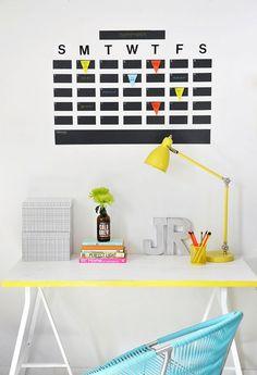 Chalkboard Tape Wall Calendar. 12 Ultra Chic Calendars You Can Still DIY via Brit + Co