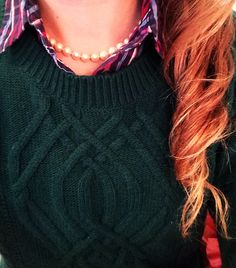 Pearls, a thick winter sweater, and plaid. The perfect combination.
