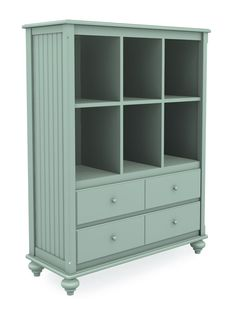 Cottage Wide Cubbie Bookcase with Two Drawers, Six Cubbies, Turned Bun Foot, Seafoam