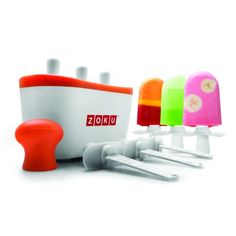The patented Zoku Quick Pop Maker freezes ice pops in as little as seven minutes right on your countertop without electricity. Quickly make striped pops, yogurt pops or (for the first time ever at home) flavored core pops. To enjoy Quick Pops at a mome Zoku Popsicle Maker, Popsicle Molds, Popsicle Recipes, Popsicle Sticks, Helado Natural, Design Online Shop, Ice Pop Maker, Sorbets, Ice Pops