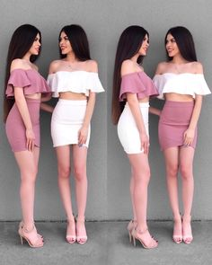 1 or 2 . 🌸 Tag your BFF 👯✨ We love our dresses from Sexy Dresses, Cute Dresses, Fashion Dresses, Girls Dresses, Matching Outfits Best Friend, Best Friend Outfits, Twin Outfits, Girl Outfits, Cute Outfits