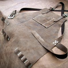 Leather Work Apron top pocket plus tool loops by CyclonaDesigns