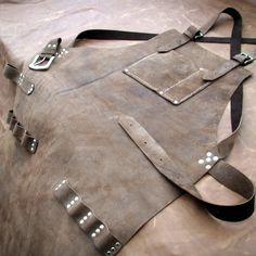 Leather Work Apron top pocket plus tool loops by CyclonaDesigns