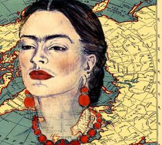 Mexican artist Frida Kahlo was a symbol of female empowerment and national pride in her country. Kahlo's art works spoke to the conditions of her people and… Diego Rivera, Frida Kahlo Portraits, Map Painting, Mexican Artists, Collage Art, Original Artwork, Mexico, Museum, Student Lounge