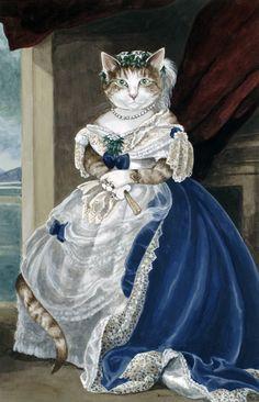 adelina_4 - Кошачьи пародии Сьюзен Херберт. Часть- 8.Franz Xavier Winterhalter. Portrait of Julia Louise Bosville.