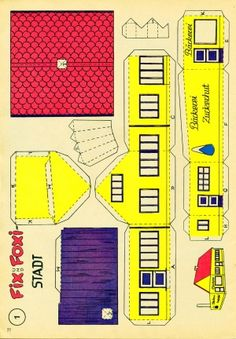 Vintage papercraft village from the 50'ies. Page is in German, but mostly self-explanatory (or use Google translate)