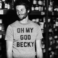 Oh My God Becky. Ultrasoft grey triblend crew neck t-shirt.