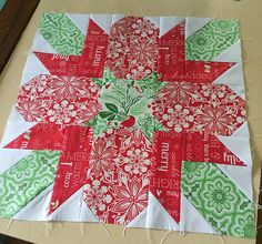 Fort Worth Fabric Studio: Christmas In July! {Poinsettia Table Topper}