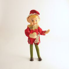 Vintage Christmas Pixie Elf Christmas Decoration Good Luck by efinegifts on Etsy