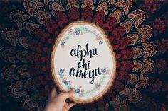 Alpha chi omega sorority craft wood slice little big reveal Alpha Phi Omega, Kappa Alpha Theta, Alpha Chi, Phi Mu, Delta Gamma, Big Little Week, Big Little Gifts, Sorority Canvas, Sorority Paddles