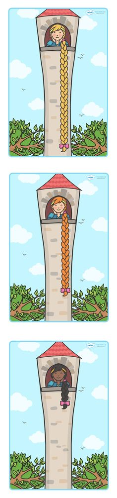 Rapunzel Measuring Length (in and Sorting Activity - Pop over to our site… Measurement Activities, Math Measurement, Sorting Activities, Eyfs Activities, Teaching Numbers, Primary Teaching, Teaching Resources, Fairy Tale Theme, Fairy Tales
