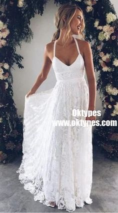 1be02f7a47e A-Line Straps Backless Court Train Lace Beach Wedding Dresses